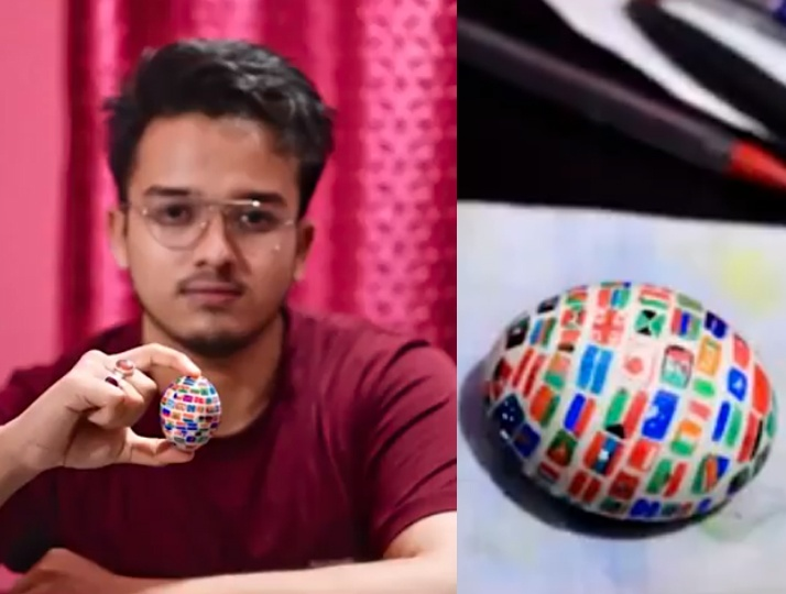 UN Flags on Egg Shell. His Instagram handle is a proof of how so many have taken to art