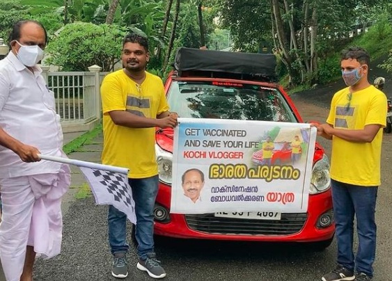 Get vaccinated and stay safe. Spreading the positive message through travelling from Kochi to Kashmir