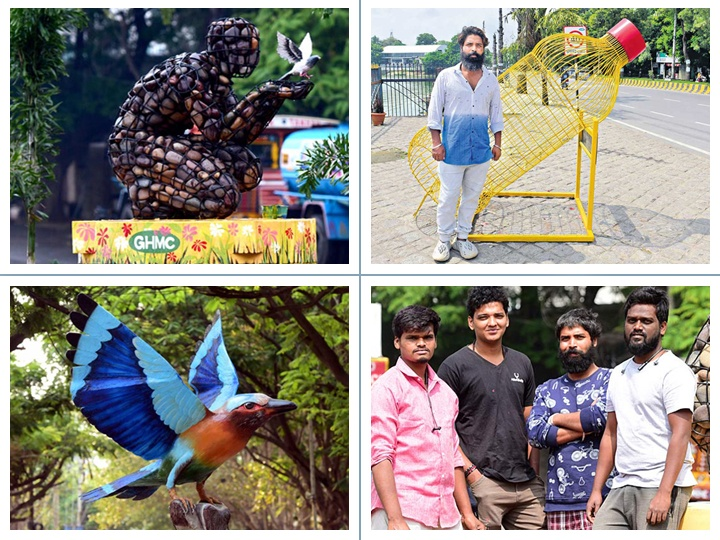 Artist making Hyderabad city look brighter, colourful, and beautiful. Stop, watch and admire