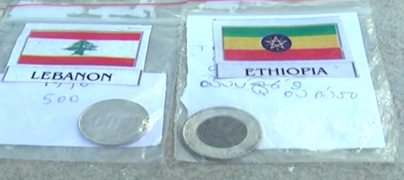 Lakshmaiah writes the name of the country against each of them and laminates each of the currency notes and coins before preserving them