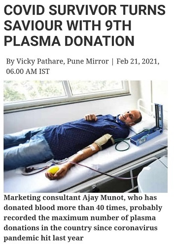 Ajay Munot has made 14 Plasma donations and more than 41 blood donations making place in the India Book of Records