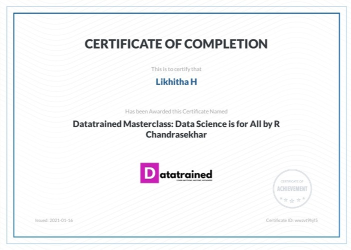 Certificate from Datatrained