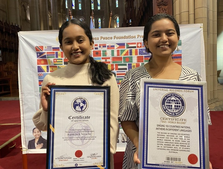 Kerala sisters sang national anthems of 193 countries in 6 hrs all for the love of spreading peace