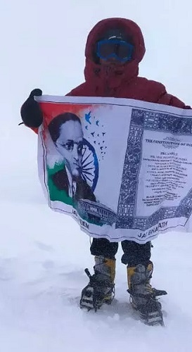 Bhuvan Jai hoisted the Indian tricolour and also unfurled a banner containing a portrait of B.R. Ambedkar and the Preamble to the Indian Constitution